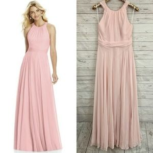 After Six 6760 halter bow blush bridesmaid dress